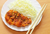 Tonkatsu. Japanese pork cutlet on white plate. Japanese food. — Stock Photo