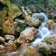 Waterfall. A stream of water in forest and mountain terrain  — Stock Photo