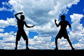Silhouettes of fighters on blue sky background — Stock Photo