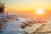 Winter Landscape With Sunrise Sun — Stock Photo