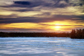 Winter landscape with sun and frozen river. Sunrise. — Photo