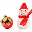 Toy snowman and toy for christmas trees on white background. — Stock Photo #37486909