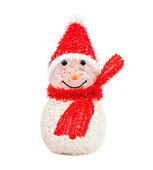 Toy snowman on white background. Christmas holiday season toy. — Stock Photo