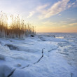 Winter landscape with frozen lake and sunset sky. — Stock Photo #40955835