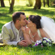 Beautiful newly married couple lying on grass at park and kissin — Stock Photo #49359371
