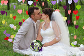 Beautiful newly married couple at the park on the grass — Stock Photo