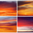 Collection of backgrounds with fiery sunset sky. Sky background — Stock Photo #50280379