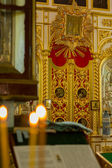 Interior of  orthodox church in Jerusalem , Israel . — Стоковое фото