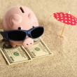 Summer piggy bank standing on towel from greenback hundred dollars with sunglasses on the beach and red parasol — Stock Photo #45209643