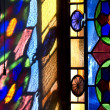 Stained glass window reflection — Stock Photo