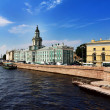 View of the Neva river and Kunstkamera museum — Stock Photo