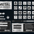 Stok Vektör: Glossy metallic internet and computer icons set. web buttons