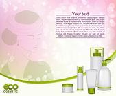 Genç kadın ve eko kozmetik. — Stok Vektör