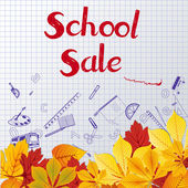 School Sale Drawings in a notebookeps — Stock Vector