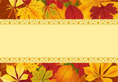 Template with red and yellow autumn leaves — Stock Vector