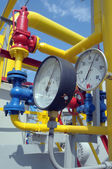 Gauges are on the gas compressor station — Stock Photo