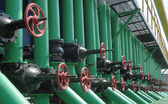 Gas valves are on the gas compressor station — Стоковое фото