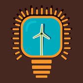 Wind mill in bulb stock vector — Stock Vector