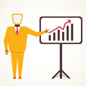 Businessmen present business growth graph vector — Stock Vector