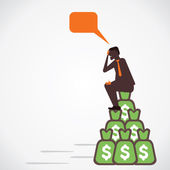 Men got big amount of money , sit on that and think vector — Stock Vector