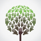 Abstract hand tree show unity concept vector — Stockvektor