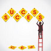 Arrange word make success word vector — Stock Vector