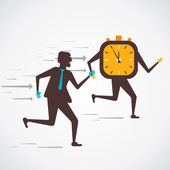 Competition between businessmen and clock(time) concept — Stockvector