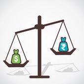 Dollar ist mehr wert als rupie währung konzept vektor — Stockvektor