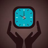 Clock secure bu hand concept vector — Stock Vector