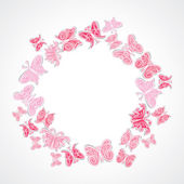 Pink butterfly arrange in round circle stock vector — Stok Vektör