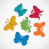 Barevné tvůrčí motýl designu vektorové — Stock vektor