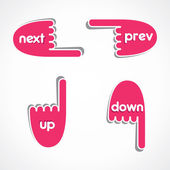 Creative web link button like next, previous, up and down vector — Stockvector