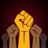 Clenched fist held in protest vector illustration — Wektor stockowy