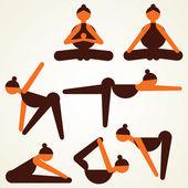 Farklı yoga pose hisse senedi vektör — Stok Vektör