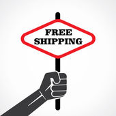 Free shipping banner in hand vector — Stock Vector