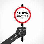 100 percent secure banner in hand vector — Stock Vector