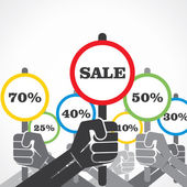 Sale banner in hand background vector — Stock Vector