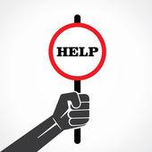 Help banner in hand vector — Stock Vector