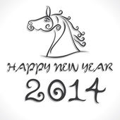 Draw horse and new year 2014 background vector — Stock Vector