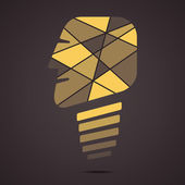 Vecteur de conception créative visage forme ampoule — Vecteur