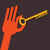 Career key in hand stock vector — Stock Vector