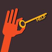 Help key in hand stock vector — Stock Vector