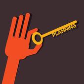 Planning key in hand stock vector — Stock Vector