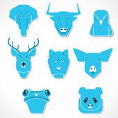 Animal face set stock vector — Stock Vector