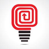 赤い矢印の電球のベクトル — ストックベクタ