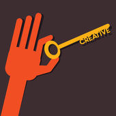 創造的な手にキー ストックベクター — ストックベクタ