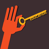Education key in hand stock vector — Stock Vector