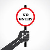 No entry placard hold in hand vector — Stock Vector