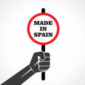 Made in Spain placard holding in hand vector — Stock vektor