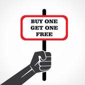 Buy one get one placard holding hand vector — Stock Vector